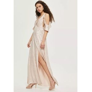 Topshop Foil Cold Shoulder Maxi Dress